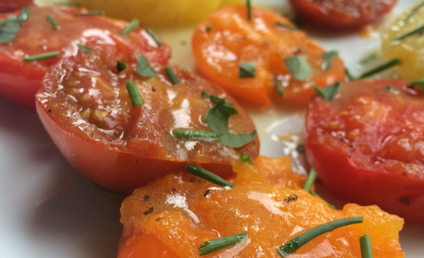 Grilled Garden Tomatoes with Wasabi Vinaigrette {Recipe Redux}