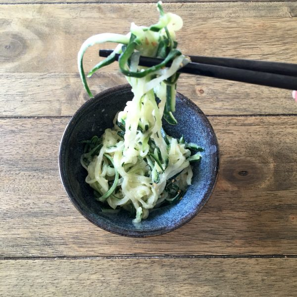 Miso Cucumber Noodles - a delicious side salad that takes only 5 minutes!