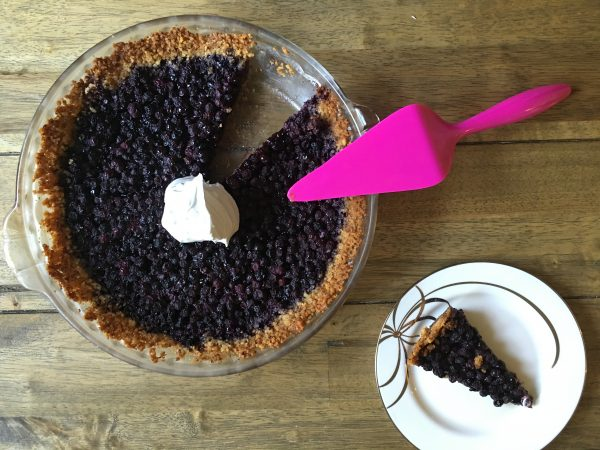 Wild Blueberry Walnut Pie - topped with coconut whipped cream